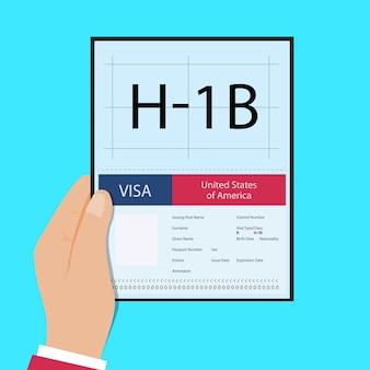 Hand houden paspoort met visum hb tijdelijk werk voor werknemers illustratie hb visa usa pagina voor de