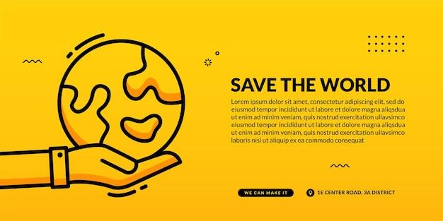 Hand houdt aarde op geel, red de wereld sociale media voorbladsjabloon voor spandoek