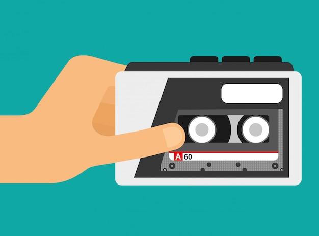 Hand houdt cassette