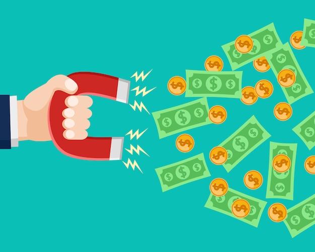 Hand houdt een magneet vast die geld aantrekt.