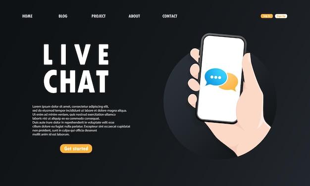 Hand houdt een mobiele telefoon op het scherm live chat of melding op het smartphonescherm van een nieuw bericht.