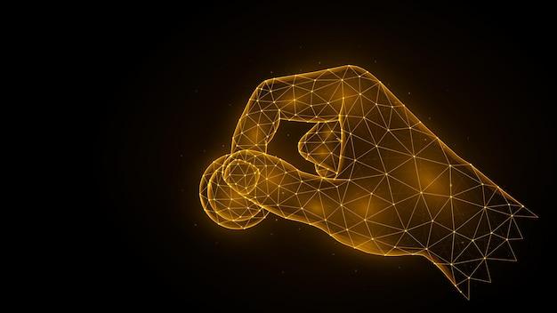 Hand houdt een munt veelhoekige vectorillustratie op een zwarte achtergrond