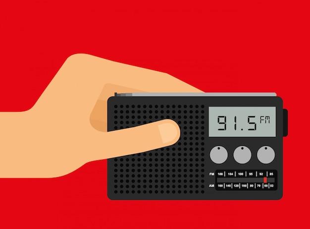 Hand houdt een radio