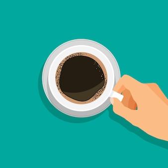 Hand houdt hete koffiekop americano of espresso-pictogram bovenaanzicht vectorillustratie