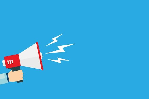 Hand houdt megafoon met tekstballon op blauwe achtergrond. vectorillustratie eps 10