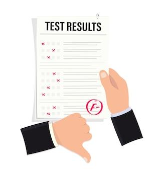 Hand houdt onderzoeksblad met slecht cijfer. slecht examencijfer. examenresultaat, cijfer f minus. duimen omlaag. mislukte testen