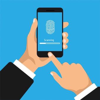 Hand houdt smartphone met scannen vingerafdruk. vingerafdrukidentificatie in de mobiele telefoon.