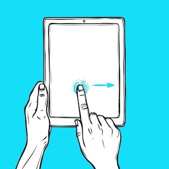 Hand houdt tablet vast