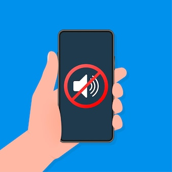 Hand houdt telefoon zonder geluidsteken op scherm op darck achtergrond