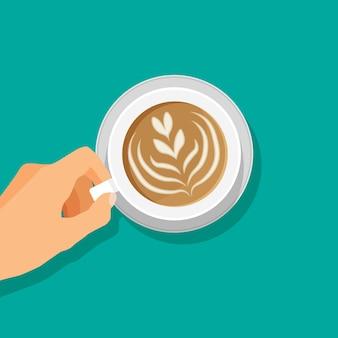 Hand houdt warme koffiekop cappuccino of latte macchiato drankje pictogram bovenaanzicht vectorillustratie