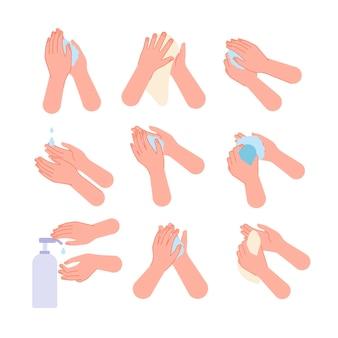 Hand hygiëne. handen wassen stappen vloeibare zeep, met behulp van ontsmettingsmiddel en doekjes. gezond leven, medische desinfectie sanitaire vectorillustratie. reinigingsprocedure informatie, gezonde hygiëne wassen