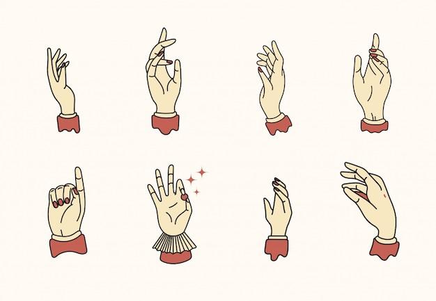 Hand illustratie in platte ontwerpstijl met contouren.