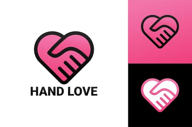 Hand in hand liefde logo sjabloon premium vector
