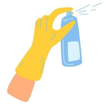 Hand in handschoenen houdt een fles antiseptische spray met aerosol vast. reinigings- en desinfectiemiddel. antiseptische spray in kolf. ontsmettingsmiddel en covid-19 beschermingsconcept. vector cartoon vlakke afbeelding