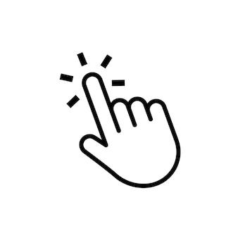 Hand klik knop muis cursor web aanwijzer druk of raak website element vector computernavigatie...