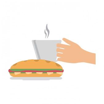 Hand koffiekopje en sandwich