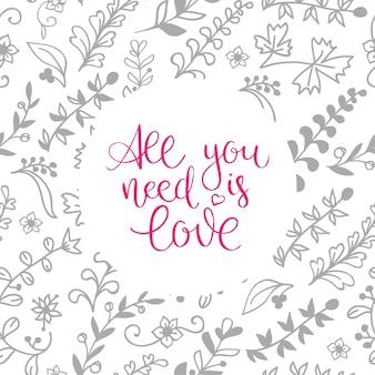 Hand-lettered vintage st. valentines kaart - met handgemaakte kalligrafie