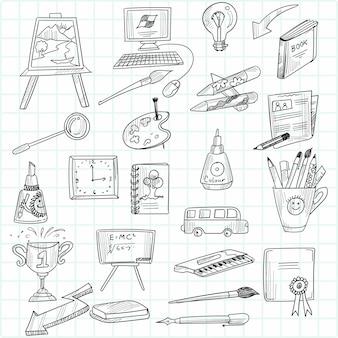Hand loting onderwijs doodle schets icon set