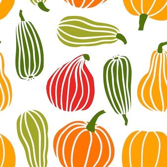 Hand loting pompoen naadloze patroon in eenvoudige doodle stijl vector achtergrond kleurrijke pompoenen van verschillende vormen en maten geïsoleerd op een witte achtergrond. sjabloon voor halloween, thanksgiving, oogst