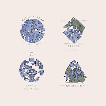 Hand loting set lila bloem logo's illustratie