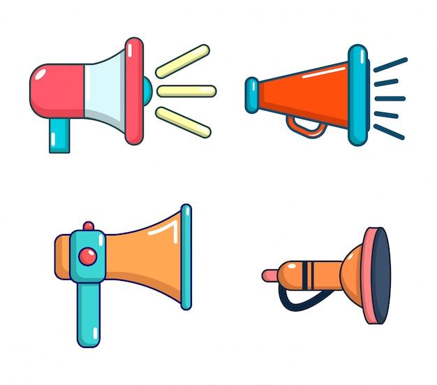 Hand luidspreker pictogramserie. beeldverhaalreeks vectorpictogrammen van de handspreker geplaatst geïsoleerd