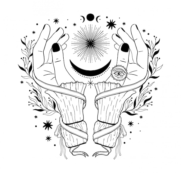 Hand magische inspiratie fortuin chiromantie.