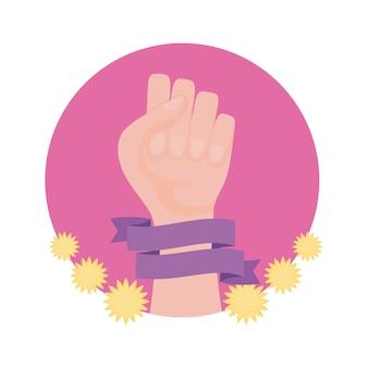 Hand menselijke vuist in frame rondschrijven met bloemendecoratie