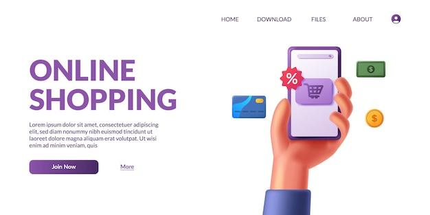 Hand met 3d-schattige mobiele smartphone met winkel app e-commerce. online winkelen illustratie concept met 3d pictogram.