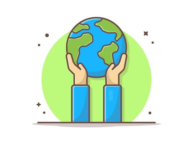 Hand met aarde vector clipart illustratie