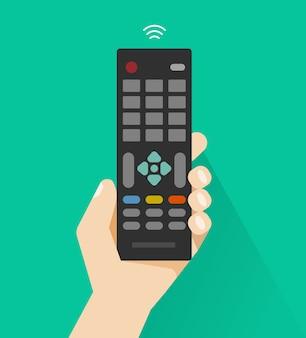 Hand met afstandsbediening van platte cartoon-tv