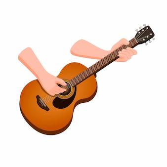 Hand met akoestische gitaar. houten klassieke gitaar muziekinstrument in cartoon afbeelding op een witte achtergrond