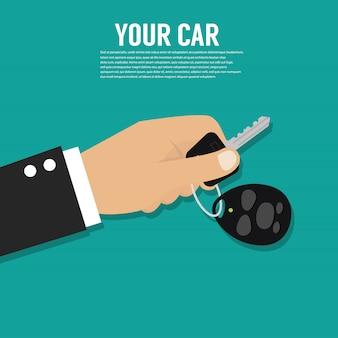 Hand met autosleutel of huissleutel