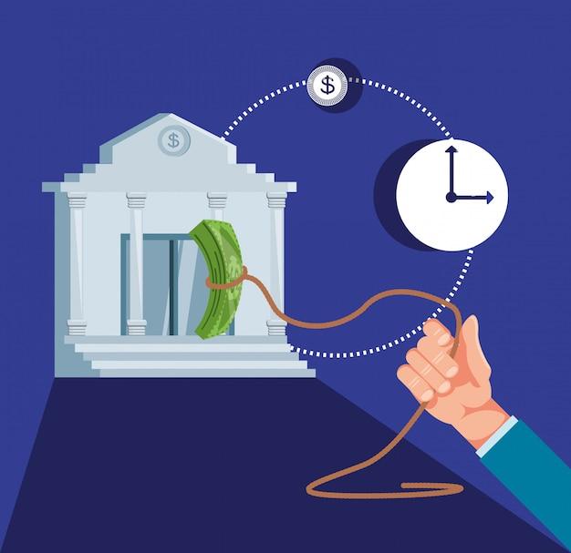 Hand met bank bouwen en instellen pictogrammen economie financiën