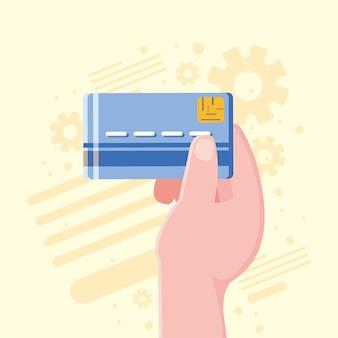 Hand met bankkaart