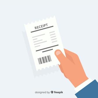 Hand met betalingsbewijs