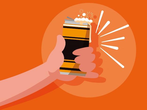 Hand met bier ingeblikt geïsoleerd pictogram