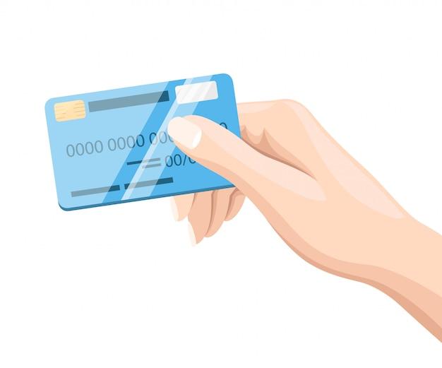 Hand met blauwe creditcard voor online betaling en winkelstijl illustratie op witte achtergrond