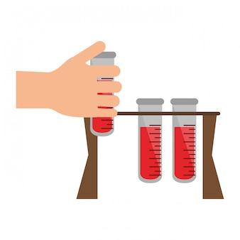 Hand met bloedonderzoek buizen