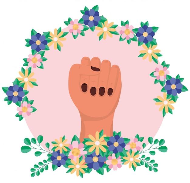 Hand met bloemen en bladeren van vrouwen empowerment vector