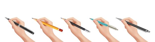 Hand met briefpapier. realistische pen potlood, geïsoleerde numan arm tekenen document vectorillustratie. penhand, potlood of teken, schrijven met balpen