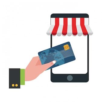 Hand met creditcard online kopen van smartphone