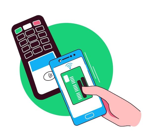 Hand met creditcardbetaling via bankterminal kaartbetalingsillustratie