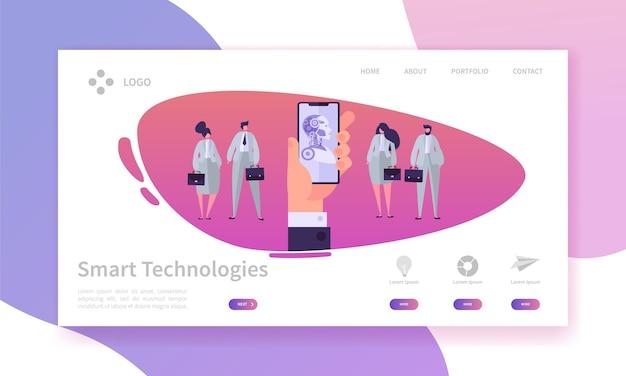 Hand met de bestemmingspagina van het mobiele telefoonconcept. bot smart technologies. engineering versus zakenmensen. kunstmatige intelligentie concept website of webpagina. platte cartoon vectorillustratie.