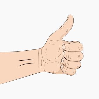 Hand met de duim omhoog. illustratie.