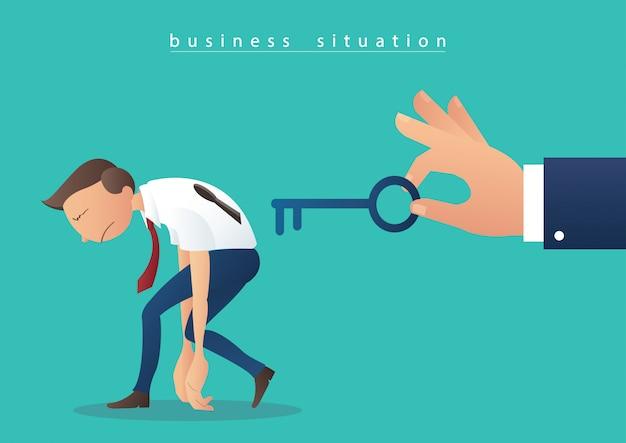Hand met de grote sleutel en zakenmensen met sleutelgat
