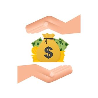 Hand met de rekening van de geldzak en de pictogrammen van muntfinanciën. zakelijke financiële investering. vectorachtergrond.