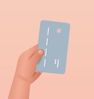 Hand met debet- of creditcardservice voor veilige elektronische draadloze betaling digitale transactie online winkelen geldoverdracht concept