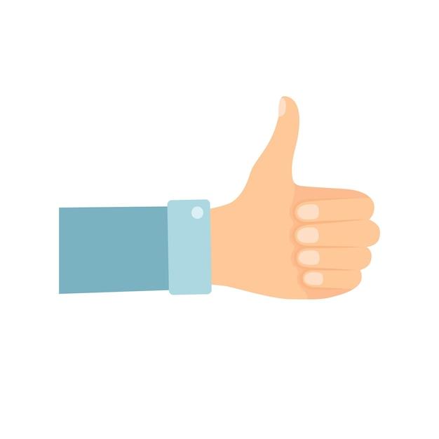 Hand met duim omhoog op witte achtergrond, vectorillustratie