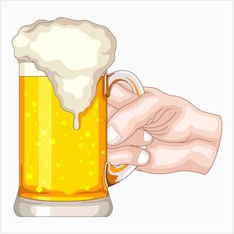 Hand met een bierpul vectorillustratie