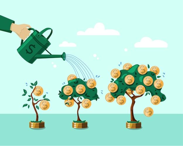 Hand met een gieter die de geldboom water geeft. het concept van financiële groei. storting. illustratie. objecten zijn geïsoleerd.